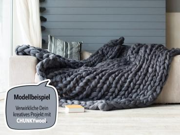 CHUNKY Wool Plaid Blanket Model Example dark grey